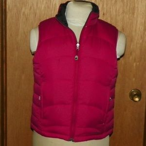 LL Bean Gray and Burgundy Reverse Down Filled Vest